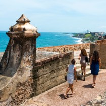 """Three women women from New York, on vacation in Puerto Rico, visit Castillo San Felipe del Morro, a 16th-century Spanish fort in San Juan"""