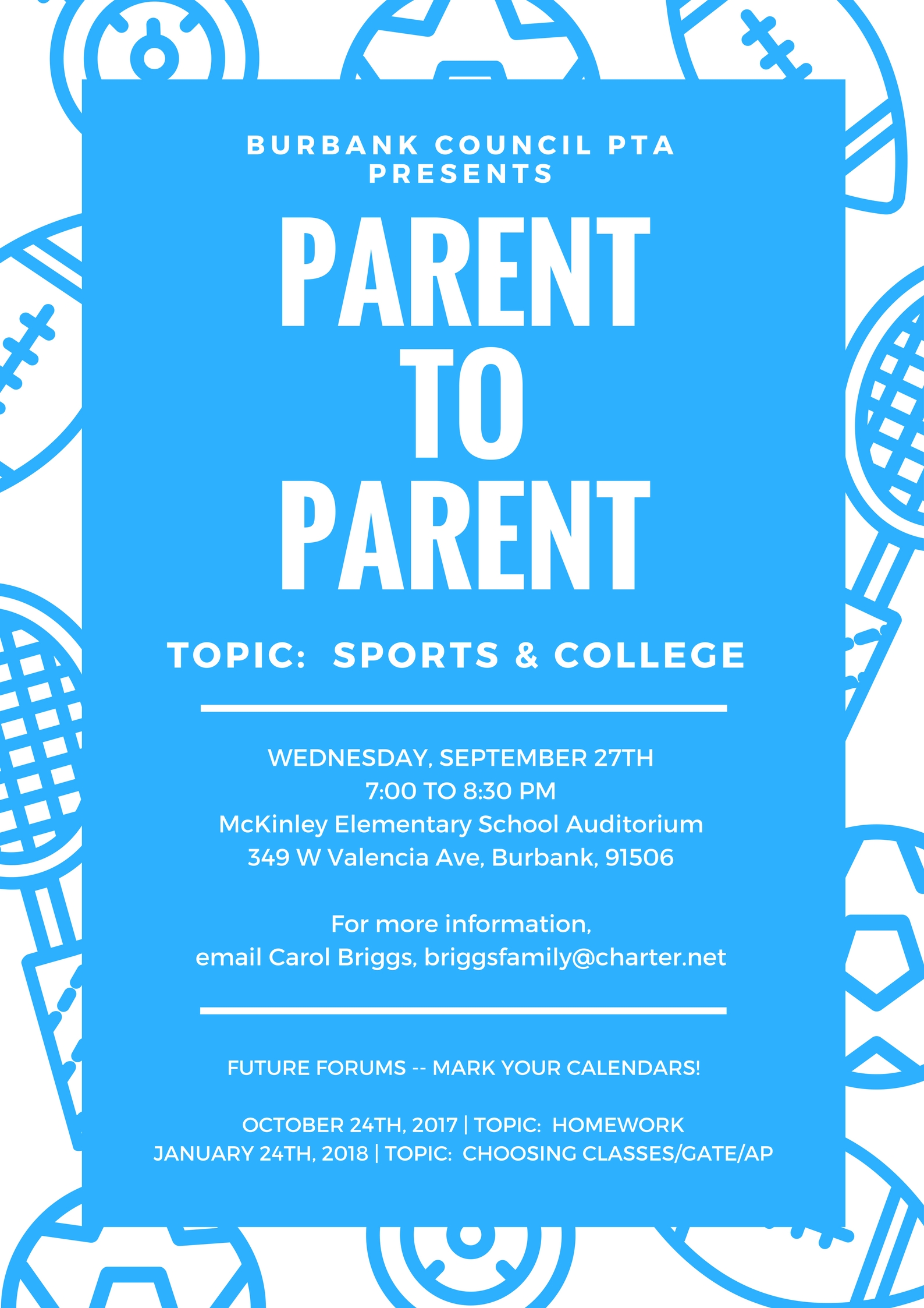 Join us for our first Parent to Parent Forum