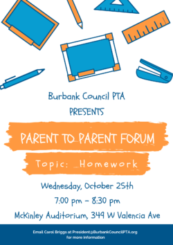 Next Parent to Parent Forum:  Homework