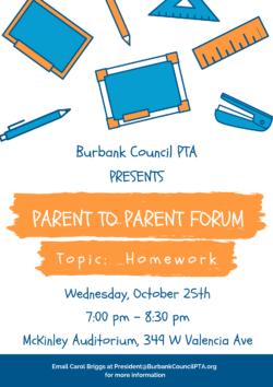 Next Parent to Parent Forum: Homework