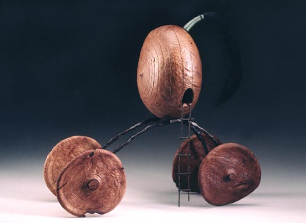 """20"""" x 18"""" x 7"""" Madrone Burl, Horsehair, Copper Wire"""