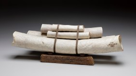 """22"""" x 8"""" x 7"""" Bleached Madrone, Rock, Linen Thread '16"""