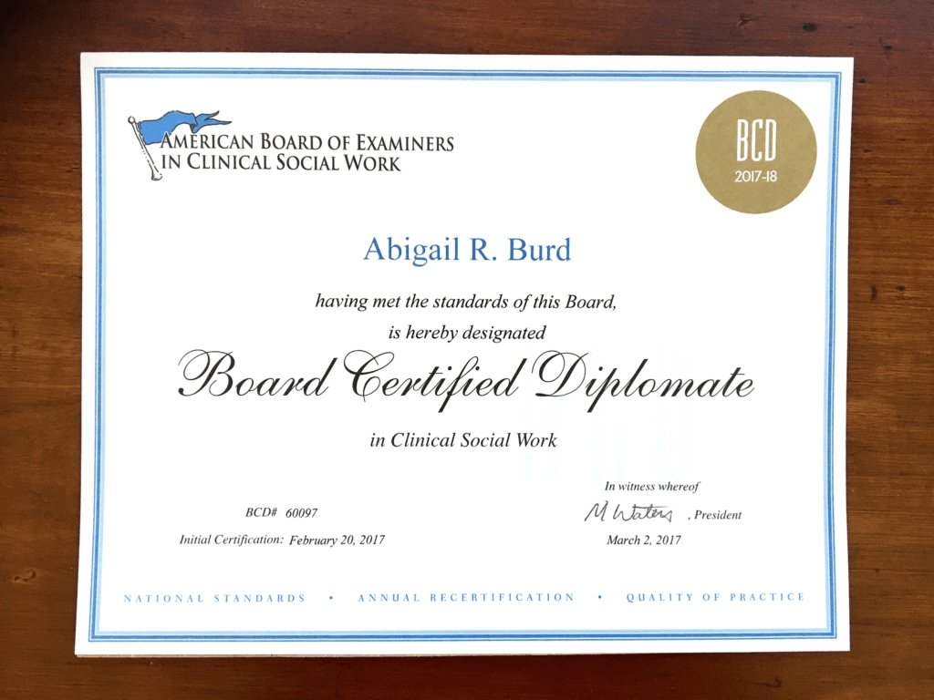 San Diego Board Certified Diplomate in Clinical Social Work, Abigail Burd
