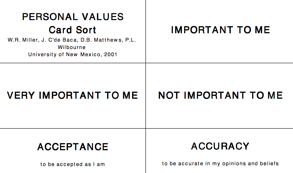 Value Sort Cards