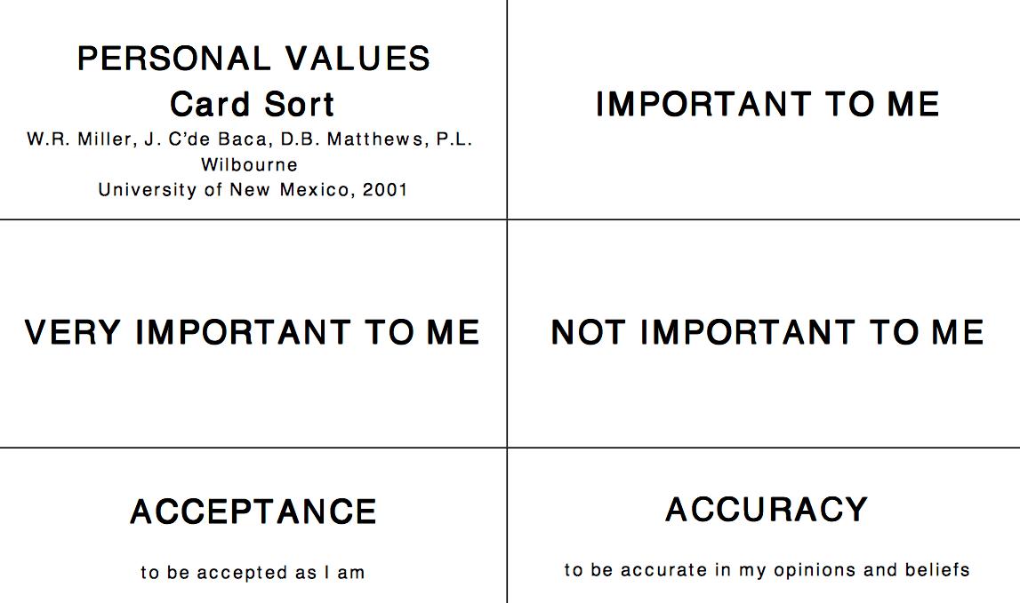 Value Sort Cards