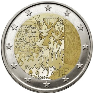 2 euros commémorative chute du mur de Berlin 2019 France