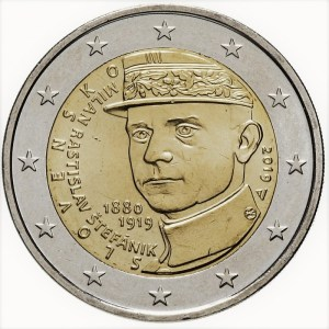 2 euros commémorative Milan Rastislav Stefanik Slovaquie 2019