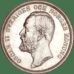 2 couronnes en argent Oscar II roi de suède et de Norvège 2 kronor