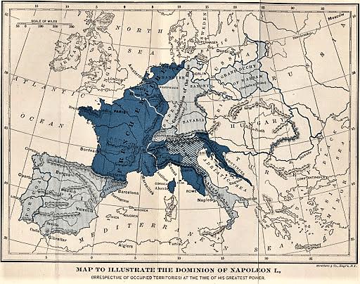Carte de l'Europe sous Napoléon 1er