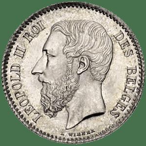 1 Franc Léopold II en argent massif