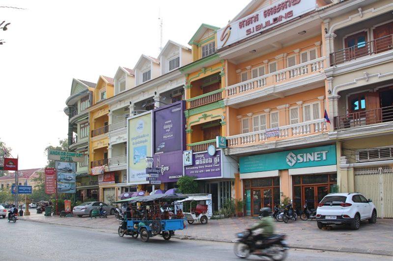 französische Häuser in Battambang, zweitgrößte Stadt in Kambodscha