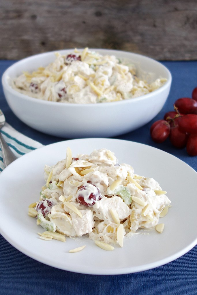 This chicken salad with grapes makes an awesome side dish or main meal. It's really simple to make with cubed chicken, pasta, grapes, celery and a whip & mayo topping. Great for sharing or potlucks!