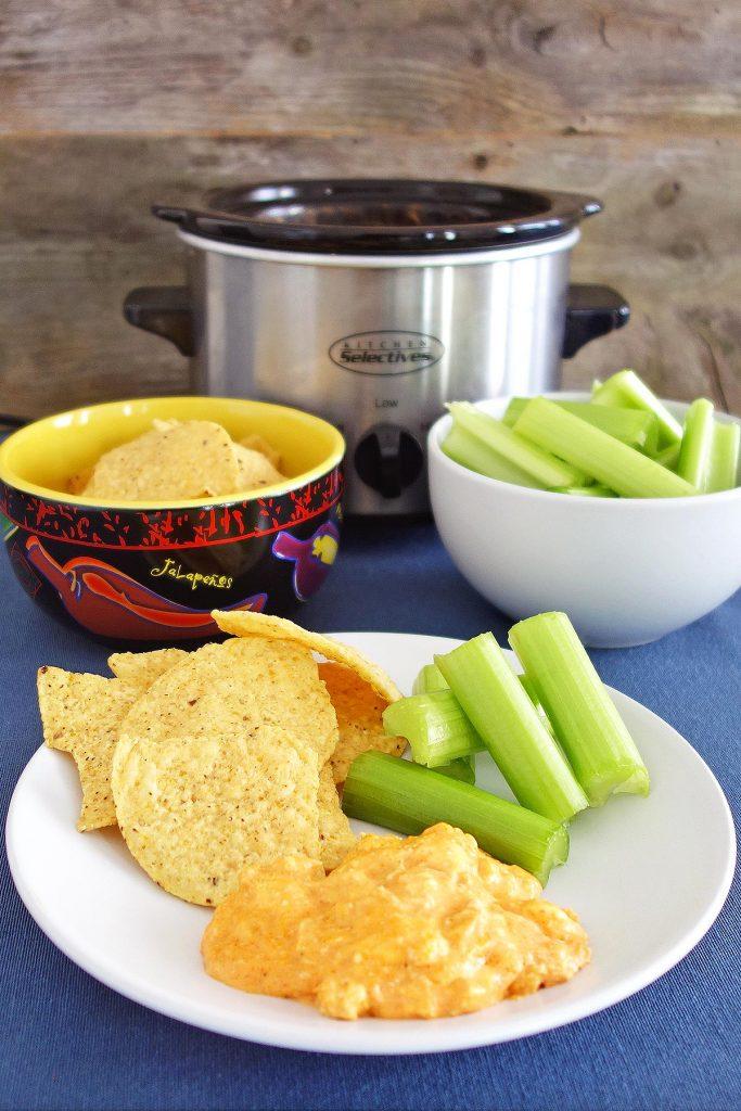 Crockpot buffalo chicken dip is an amazing appetizer