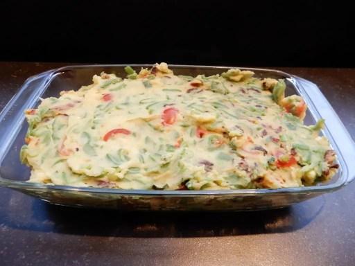 aardappel ovenschotel met snijbonen, tomaat en kaas
