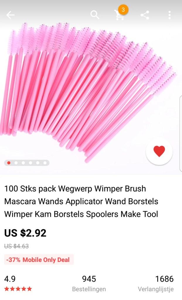 Shoplog Aliexpress 2018 make up accessoires. Wenkbrauwborstel, wimperborstel, wegwerp