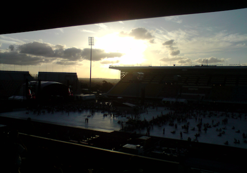 The sun setting over QSAC Stadium as Liam Finn's set finished.