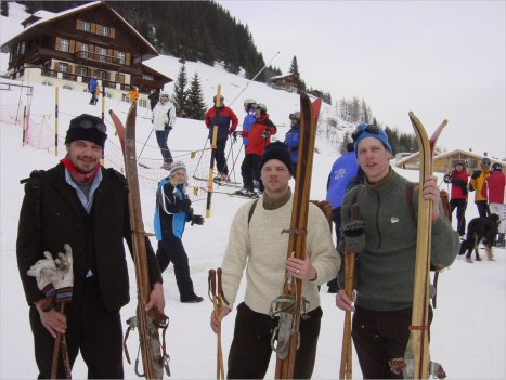 1920's skiers about to race the murren 2009 inferno