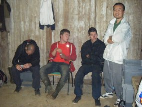 Refectory lean-to pre the off, some of the younger guys.