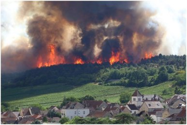 Fire above Marsannay