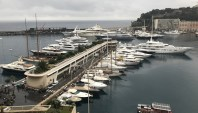 Monaco harbour - with a sheen of petrol on the water!