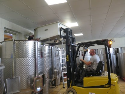 Stage 2 of moving Savigny Village grapes to tank - note window helper