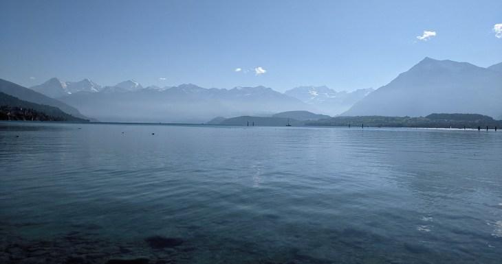 Thunersee, Eiger, Monch & Jungfrau from Schadau
