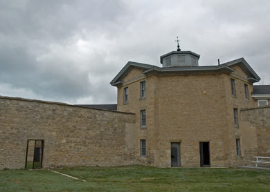 "View of the Goderich Gaol from one of the exercise yards, as designed for ""humanitarian reasons"" by architect Thomas Young"