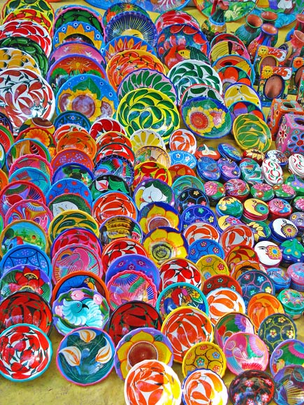 colorful dishes and bowls from the yucatan