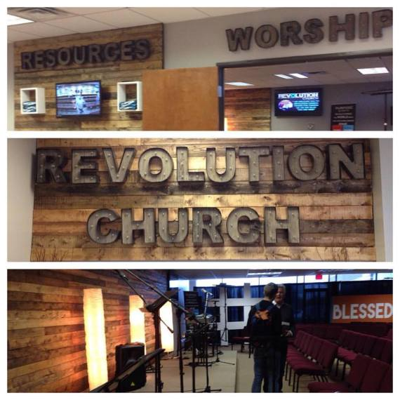 Good, inexpensive signage at Revolution Church, a recent church plant in McKinney, TX.