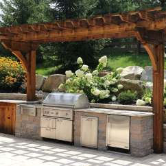 Outdoor Kitchens Kitchen Cabinet Shelves Custom Built Grills Burkholder Landscape Techo Bloc With Sink Gas Grill Trash And Fridge Cedar Pergola