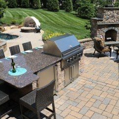 Patio Kitchen Marble Top Cart With Fireplace Pool And Hot Tub Burkholder