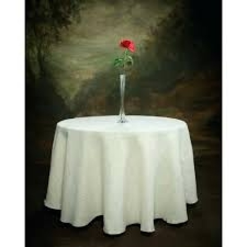 Round White 102 inch Tablecloth  Burlap Boutique