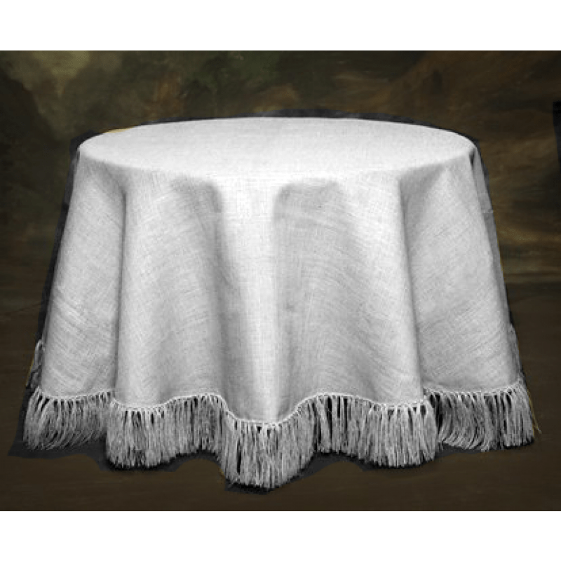 120 Natural White tablecloth Fringed  Burlap Boutique