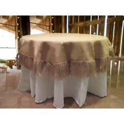 Burlap Chair Covers French Bergere Chairs Tablecloth 60 Round With 5 Inch Fringe