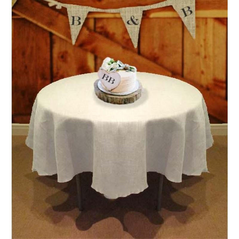 114 White Round Tablecloth  Burlap Boutique