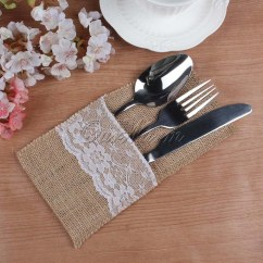 Burlap Dining Chair Covers Room Chairs White Silverware Cutlery Pouches Lace And
