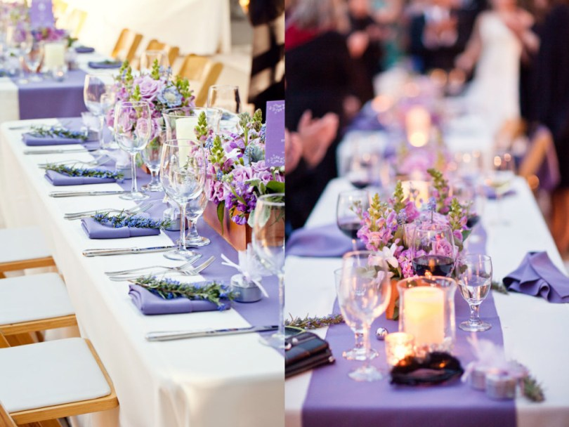 wedding reception table decor using white tablecloths and lavender table runners