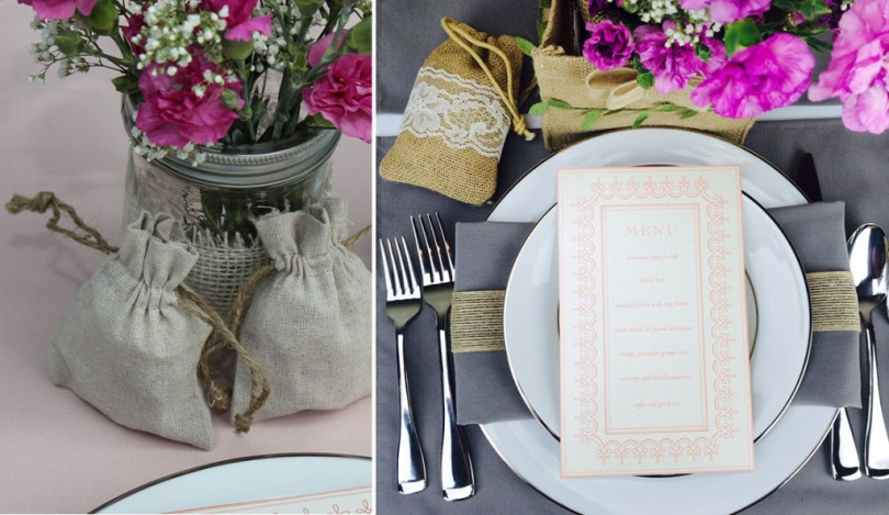 rustic linen and burlap drawstring bags