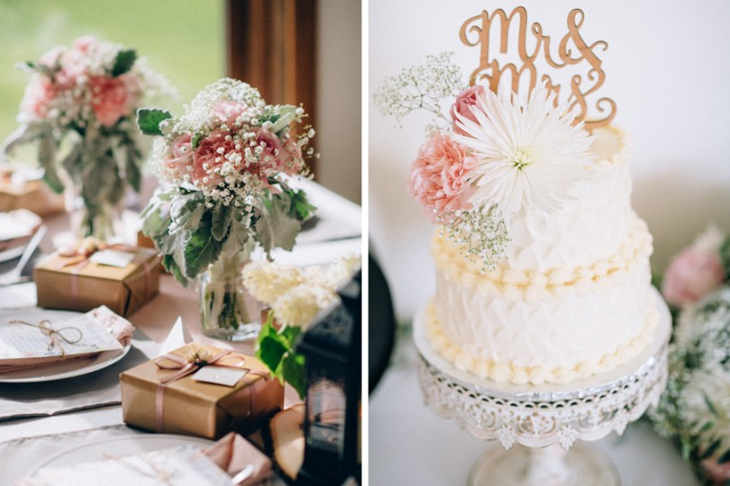 wedding cake and rustic table centerpieces for a blush and gray wedding