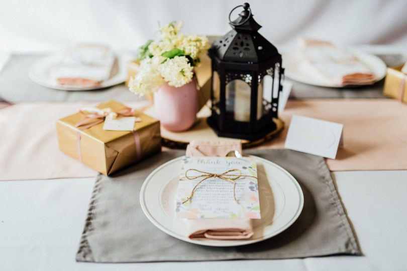 blush table runners and gray placemats