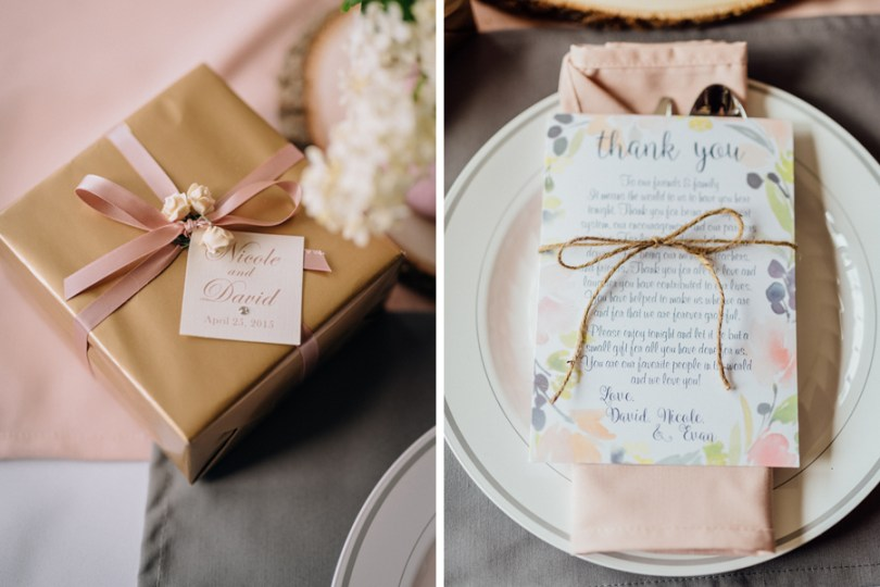blush napkins, gray placemats and rustic twine