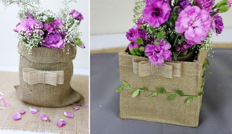 rustic burlap table centerpieces