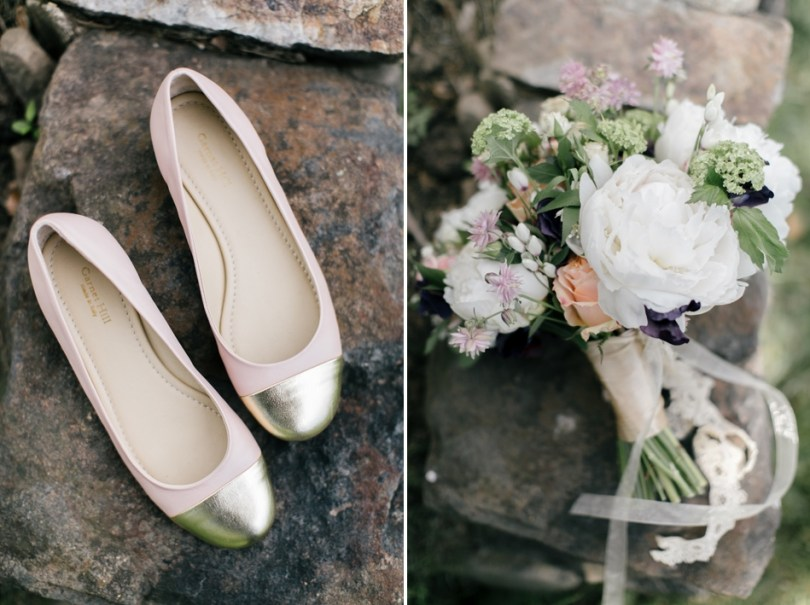 Blush Wedding Shoes and Bridal Bouquet | Navy Blue and Blush Weddings