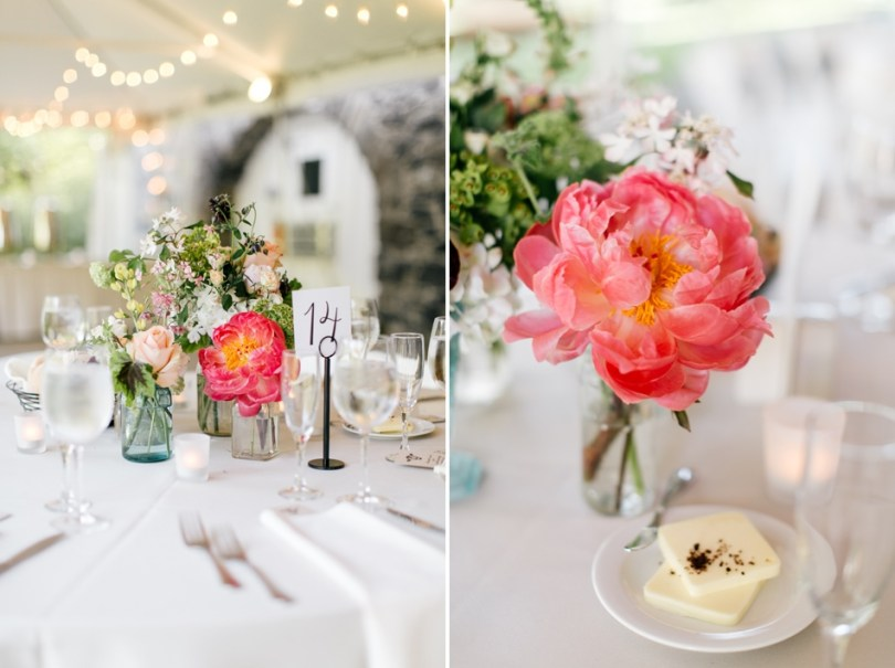White Napkins and Peony Table Centerpieces
