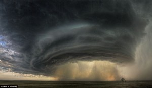 Massive cloud formation that pulled itself into a funnel to wreck havoc on a community.  Awesome power.