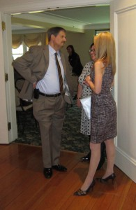 Mark Gregory cover off last minute details with Lauren Griesbach before the start of the BEDC AGM.