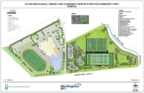 The community site is on the eastern side of Tim Dobbie Drive north of Dundas.  A sports fields and a skate board rink are on the east side.  Rink is expected to open in September.