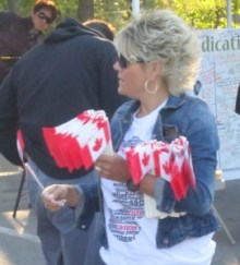 Many people see the Terry Fox run as a unique thing that happened in Canada and was the result of one Canadian's supreme effort. The Canadian flag just seems to be a part of the event - and there were plenty of them handed out.