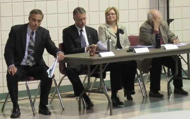 Regional Chair Gary Carr, Burlington Mayor Rick Goldring and Councillors Blair Lancaster and John Taylor all spoke to an audience of more than 600 people at the Mainway Recreation centre - on an evening when it rained.