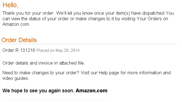 Amazon scam vis email